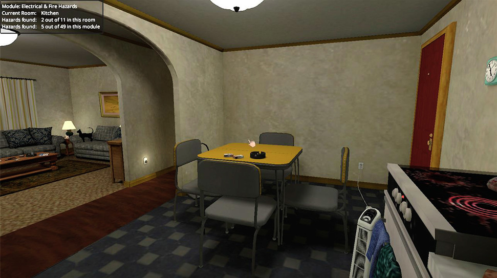 An electrical and fire hazards module in the Home Healthcare Virtual Simulation Training System. Hazards depicted include an unattended lit stove and cigarette burning in an ashtray.